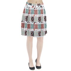 Mint Black Coral Heart Paisley Pleated Skirt