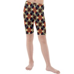 Kaleidoscope Image Background Kids  Mid Length Swim Shorts