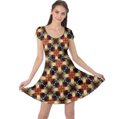Kaleidoscope Image Background Cap Sleeve Dresses