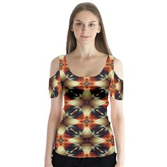 Kaleidoscope Image Background Butterfly Sleeve Cutout Tee