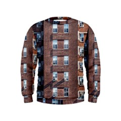 New York Building Windows Manhattan Kids  Sweatshirt