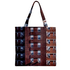 New York Building Windows Manhattan Zipper Grocery Tote Bag
