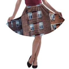 New York Building Windows Manhattan A-line Skater Skirt