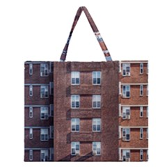 New York Building Windows Manhattan Zipper Large Tote Bag