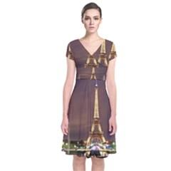 Paris Eiffel Tower Short Sleeve Front Wrap Dress