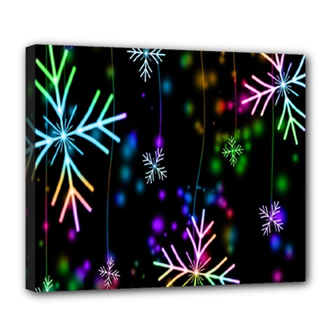 Nowflakes Snow Winter Christmas Deluxe Canvas 24  x 20