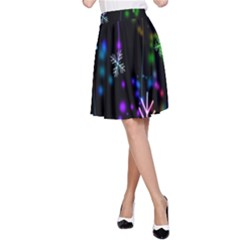 Nowflakes Snow Winter Christmas A-Line Skirt