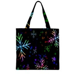 Nowflakes Snow Winter Christmas Zipper Grocery Tote Bag