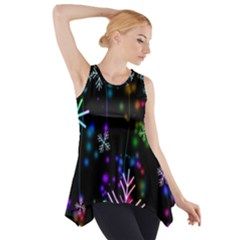Nowflakes Snow Winter Christmas Side Drop Tank Tunic