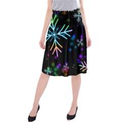 Nowflakes Snow Winter Christmas Midi Beach Skirt