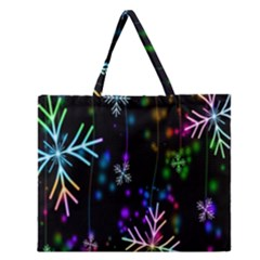 Nowflakes Snow Winter Christmas Zipper Large Tote Bag