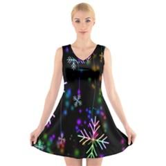 Nowflakes Snow Winter Christmas V Neck Sleeveless Skater Dress
