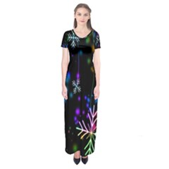 Nowflakes Snow Winter Christmas Short Sleeve Maxi Dress