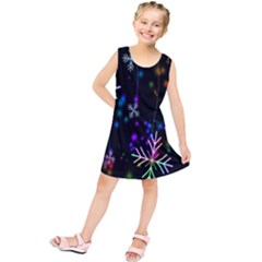 Nowflakes Snow Winter Christmas Kids  Tunic Dress