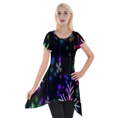Nowflakes Snow Winter Christmas Short Sleeve Side Drop Tunic