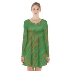 Brown Green Texture                       long Sleeve Velvet V Neck Dress