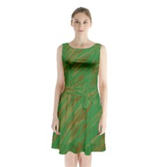 Brown Green Texture                            Sleeveless Waist Tie Dress