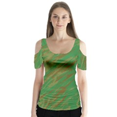 Brown green texture                                                     Butterfly Sleeve Cutout Tee