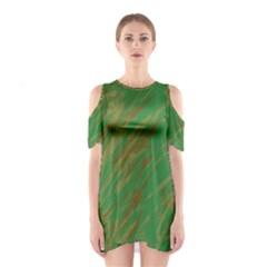 Brown green texture                                                  Women s Cutout Shoulder Dress