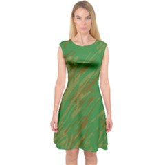 Brown green texture                                                  Capsleeve Midi Dress
