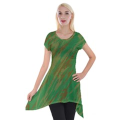 Brown Green Texture                                                  Short Sleeve Side Drop Tunic