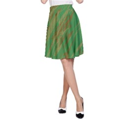 Brown green texture                                                  A-line Skirt