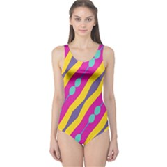 Blue bead chains                                                   Women s One Piece Swimsuit