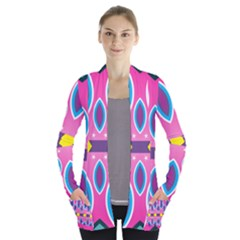 Ovals And Stars                                   Women s Open Front Pockets Cardigan