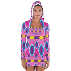 Ovals and stars                                                    Women s Long Sleeve Hooded T-shirt