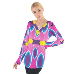 Ovals and stars                                                     Women s Tie Up Tee