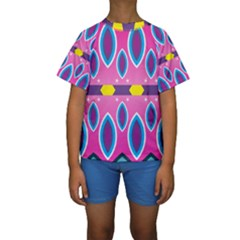 Ovals and stars                                                     Kid s Short Sleeve Swimwear