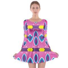 Ovals and stars                                                    Long Sleeve Skater Dress