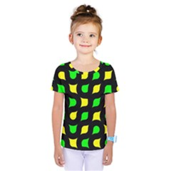 Yellow Green Shapes                                             Kids  One Piece Tee