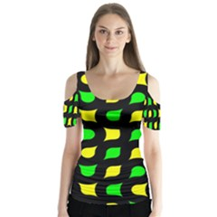 Yellow green shapes                                                        Butterfly Sleeve Cutout Tee