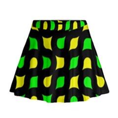 Yellow Green Shapes                                                       Mini Flare Skirt