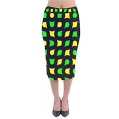 Yellow Green Shapes                                                       Velvet Pencil Skirt