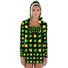 Yellow green shapes                                                     Women s Long Sleeve Hooded T-shirt