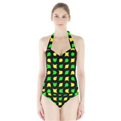 Yellow green shapes                                                     Women s Halter One Piece Swimsuit