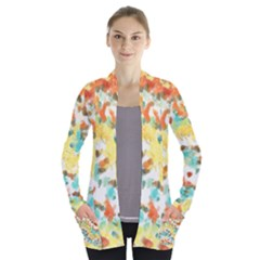 Retro Watercolors                                     Women s Open Front Pockets Cardigan