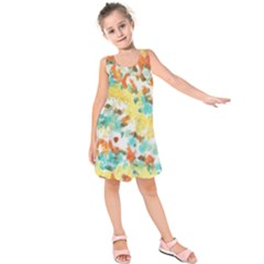 Retro watercolors                           Kid s Sleeveless Dress