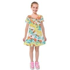 Retro Watercolors                                Kids  Short Sleeve Velvet Dress