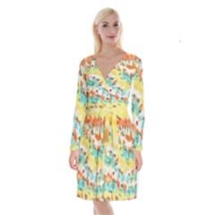 Retro Watercolors                                Long Sleeve Velvet Front Wrap Dress