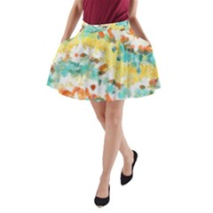 Retro watercolors                                                      A-Line Pocket Skirt