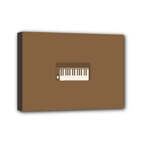 Keyboard Brown Mini Canvas 7  x 5