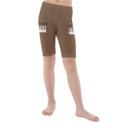 Keyboard Brown Kids  Mid Length Swim Shorts