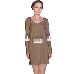 Keyboard Brown Long Sleeve Nightdress
