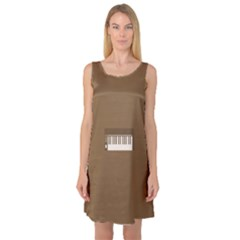 Keyboard Brown Sleeveless Satin Nightdress