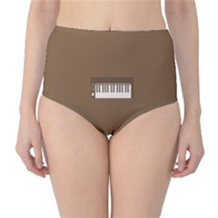 Keyboard Brown High-Waist Bikini Bottoms