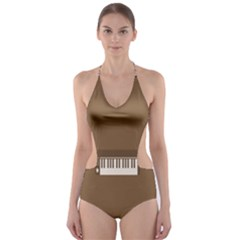 Keyboard Brown Cut-Out One Piece Swimsuit