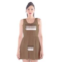 Keyboard Brown Scoop Neck Skater Dress